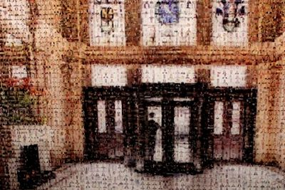 A mosaic depicting the magnificent hall in the Cafe Royal