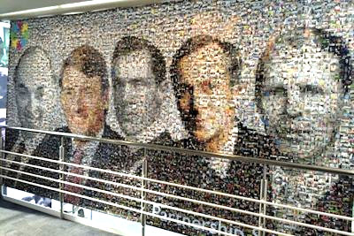 A photo mosaic - one of two - hanging in John Lewis' offices