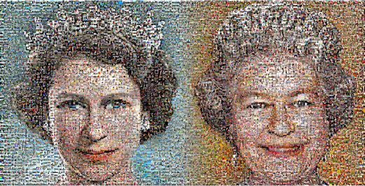 The artwork for the mosaic of Her Majesty The Queen