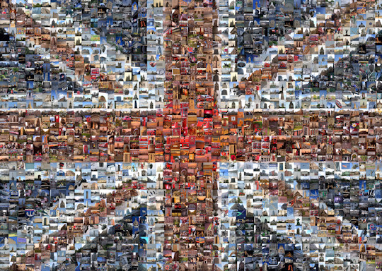 A photo mosaic of the Union Flag