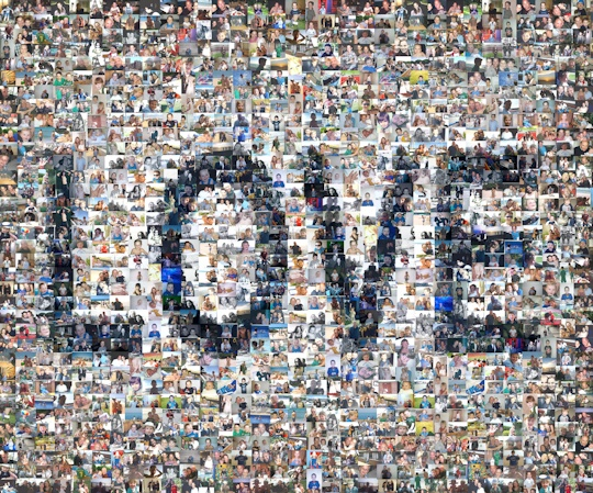 A mosaic showing the word 'Love', made for a family celebration