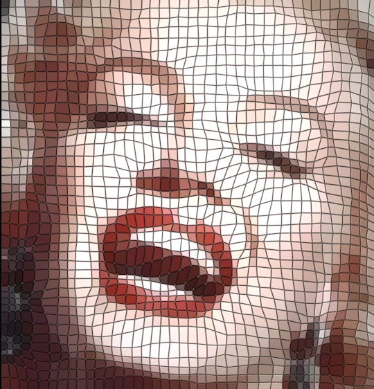 Marilyn as a mosaic of computer-generated tiles